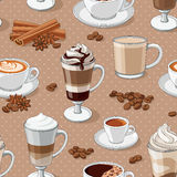 Coffee types seamless pattern. Different types of coffee. Coffee menu. Vector seamless pattern vector illustration
