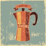 Coffee typographical vintage style grunge poster with classic moka pot coffee maker. Retro vector illustration. Stock Images