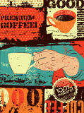 Coffee typographical vintage style grunge poster. Hand holds a coffee cup. Retro vector illustration. Stock Photo