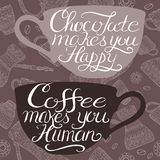 Coffee typography poster placed on coffee related pattern. Hand drawn typography poster placed on coffee pattern background. Brush lettering quote saying that Royalty Free Stock Photo