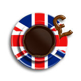 Coffee in uk flag cup with uk pound cookie  over white Royalty Free Stock Photos