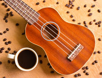 Coffee  and Ukulele on wood Stock Photo