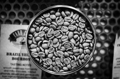 Coffee. Uncooked coffee in can black and white style royalty free stock photography