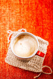 Coffee in unusual vintage tin mug with red handle Stock Photos