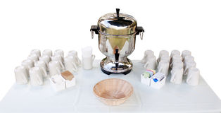 Coffee urn and cups - coffee station Royalty Free Stock Photo