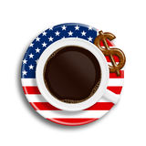 Coffee in usa flag cup with dollar cookie  over white Stock Photos