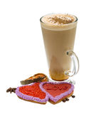 Coffee with valentine pastry Royalty Free Stock Photo