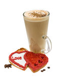 Coffee with valentine pastry Royalty Free Stock Images