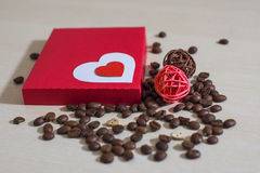 Coffee and Valentine's day. Texture, decoration, coffee for Valentine's day stock photography