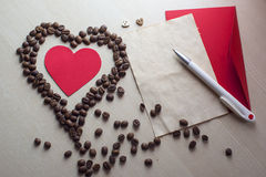 Coffee and Valentine's day. Texture, decoration, coffee for Valentine's day stock image
