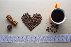Coffee and Valentine's day. Texture, decoration, coffee for Valentine's day royalty free stock photos