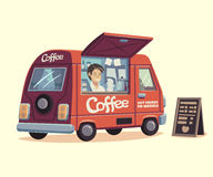 Coffee van. Hot drinks on wheels Stock Images
