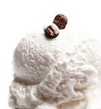 Coffee Vanilla Soft Ice Cream in blue bowl isolated over white B Royalty Free Stock Photography