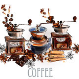 Coffee vector background with coffee grinder anise stars and roa. Coffee vector  background with coffee grinder anise stars and roasted beans in engraved and Royalty Free Stock Image