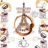 Coffee vector background with hand drawn Eiffel tower and coffee Royalty Free Stock Photography