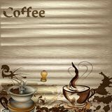 Coffee vector background with wooden texture Stock Image