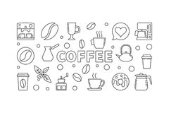 Coffee Vector Horizontal Illustration. Vector Concept Banner Royalty Free Stock Photography