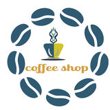 Coffee vector icon logo for cafe, bar, shop. Coffee vectorlogo for cafe, bar, shop. Vector illustration with frame Stock Image