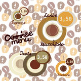 Coffee vector icon set menu for cafe, bar, shop. Vector illustration with coffee bean bacjground Royalty Free Stock Image