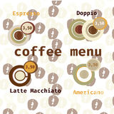 Coffee vector icon set menu for cafe, bar, shop. Vector illustration with coffee bean background Royalty Free Stock Image