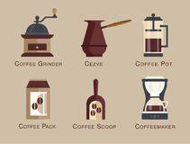 Coffee vector icon set menu Coffee beverages types stock illustration