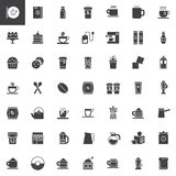 Coffee vector icons set. Modern solid symbol collection, filled pictogram pack. Signs, logo illustration. Set includes icons as coffee house, tea cup, coffee Royalty Free Stock Photos