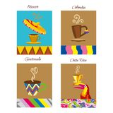 Coffee vector logo. Cafe emblem. Coffees of the world label illustrations. Mexico, Guatemala, Colombia, Costa Rica stock illustration