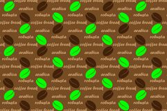 Coffee vector pattern. Brown and green pattern with text, Coffee beans with text arabica, robusta and coffee break Stock Illustration