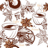Coffee vector seamless background with engraved coffee cups, gra Stock Photo