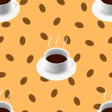 Coffee vector seamless pattern with cup and bean. Stock Illustration