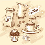 Coffee vector set. Sketch with cup of coffee, coffee beans, cupcake, milk, packet of coffee and sugar cubes. Hand drawn vector illustration Royalty Free Stock Image
