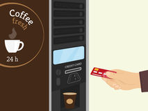 Coffee vending machine. Payment by credit card for coffee at vending machine Stock Image