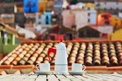 Coffee with view to Bosa village, Sardinia, Italy Royalty Free Stock Image