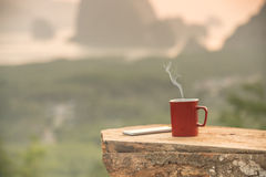 Coffee with views of nature Royalty Free Stock Image