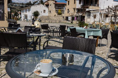 Coffee at village of Omodos, Cyprus Stock Photo