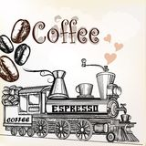 Coffee vintage background with coffee grains and coffee mill loo Stock Photo