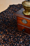 Coffee and vintage coffee grinder Stock Photo