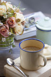 Coffee with vintage cup. During the romantic period royalty free stock image