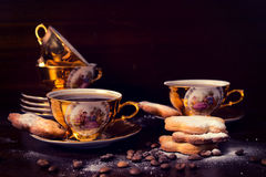 Coffee in vintage cups Royalty Free Stock Photos