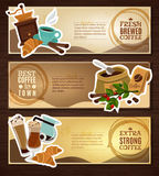 Coffee Vintage Flat Banners Set Brown Royalty Free Stock Images