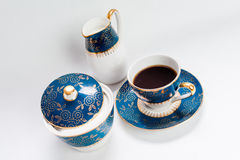 Coffee in vintage floral cup Royalty Free Stock Images