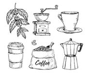 Coffee vintage hand drawn sketch set Royalty Free Stock Images
