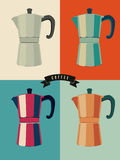 Coffee vintage pop-art style poster with classic moka pot coffee makers. Retro vector illustration. Stock Photos