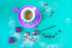 Coffee And Violet Macarons Stock Image