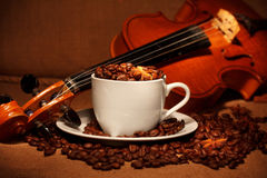 Coffee and violin. Coffee with spices and violin Stock Image