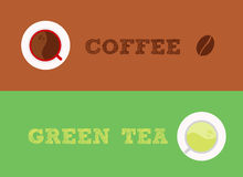 Coffee vs green tea Stock Images