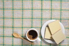 Coffee and wafers Stock Photography