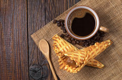 Coffee and waffle cones Stock Photography