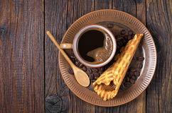 Coffee and waffle cones Stock Images