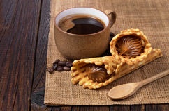 Coffee and waffle cones Royalty Free Stock Photos